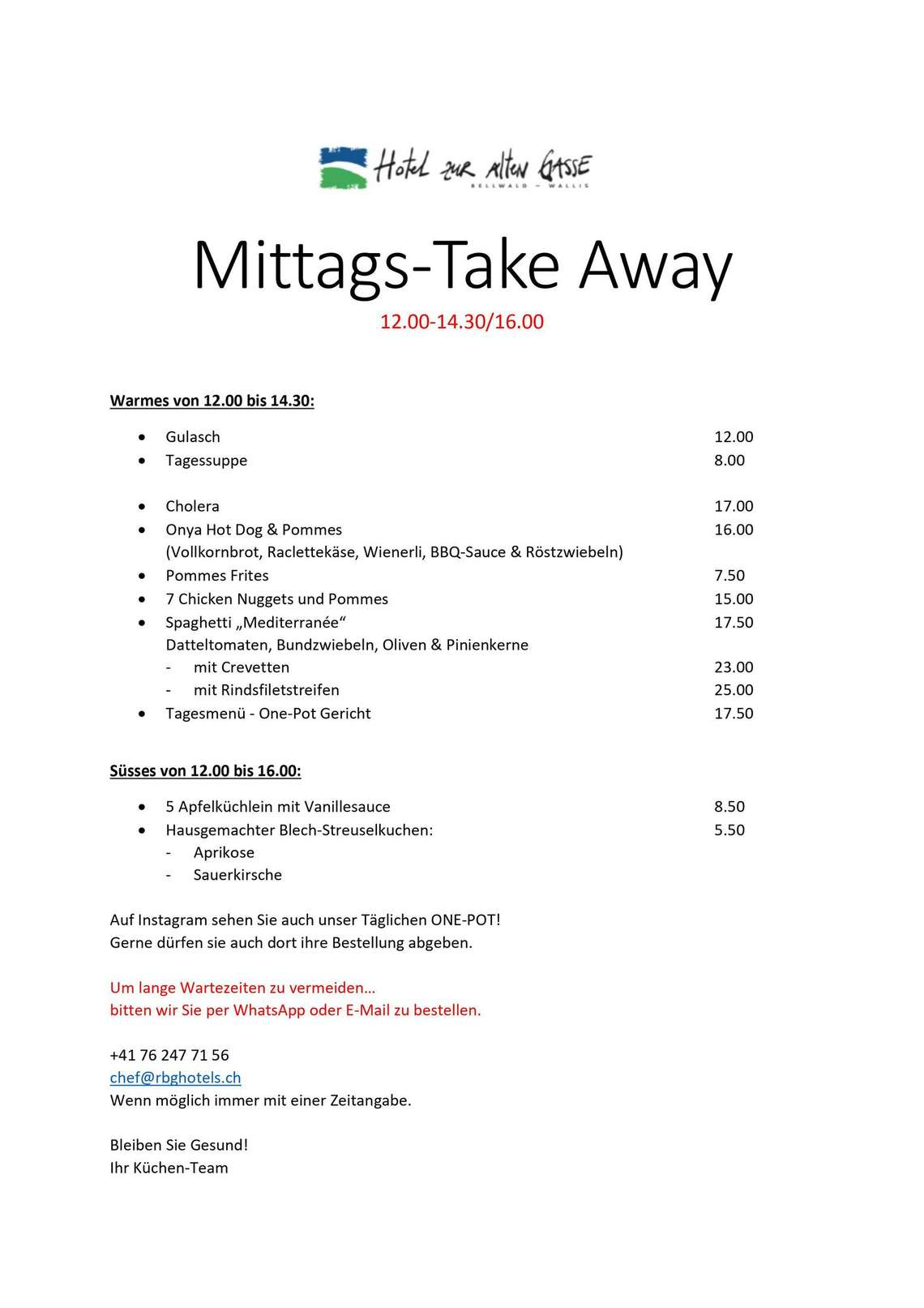 Zur alten Gasse Take Away mittags